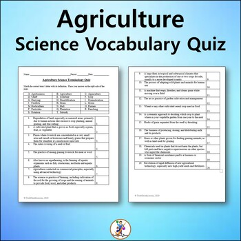 Agriculture Science Vocabulary Quiz and Word List