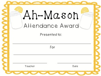 Mason Jar Themed Award Pack