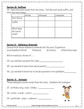 Ah, Music! ~ Language Arts Workbook ~ 2nd Grade ~ Journeys