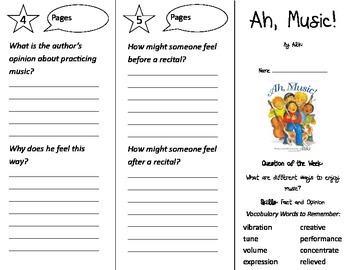 Ah Music Trifold - Journeys 2nd Grade Unit 3 Week 2 (2014, 2017 Common Core)