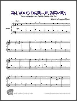 Ah, vous dirai-je, Maman (Mozart) | Sheet Music for Piano
