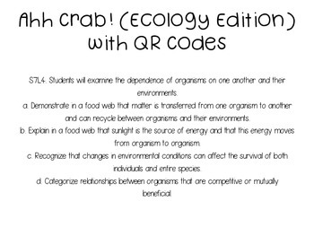 Ahh Crab! QR Code Review Card Game Ecology Edition