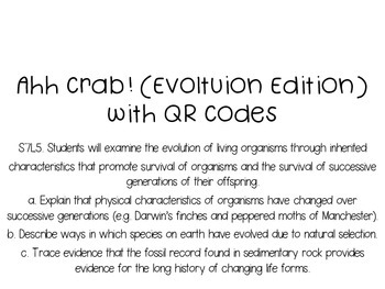 Ahh Crab! QR Code Review Card Game Evolution Edition