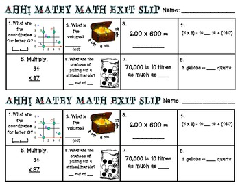 Ahh! Matey - Pirate Themed Math Task Cards