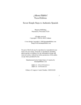 "Ahora Hablo Travel Edition  ""7 Simple Steps to Authentic Spanish"""