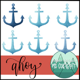 Ahoy - Free Anchor Watercolor Clip Art