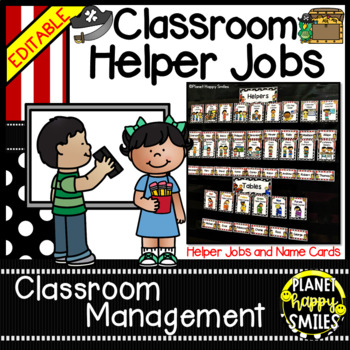 "Classroom Helper Jobs (EDITABLE) ~ ""Ahoy Matey"" Pirate Theme"