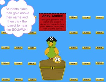 """Ahoy, Maties!"" Pirate & Parrot Themed SMART Board Attenda"