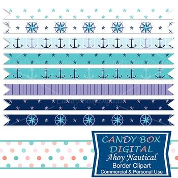 Ahoy Nautical Ribbon Border Clip Art - Commercial Use OK