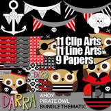 Ahoy Pirate Owl Clip Art Bundle (color, black and white, digital papers)