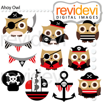 Ahoy Pirate Owl Clip Art Bundle (color, black and white, digital papers)