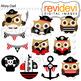 Ahoy Pirate Owl Clip Art Bundle (color, black and white, d