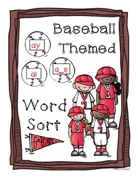 Ai, Ay, A_E Vowel Team Sort! *Baseball Themed