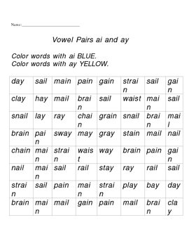 Ai and ay vowel pairs worksheet by Tiffani Ewert | TpT