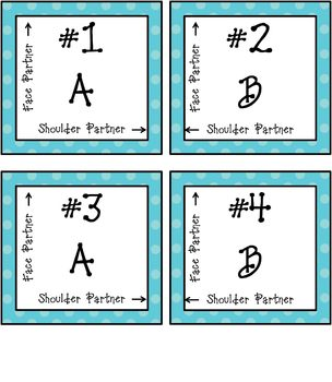 Aid for Partnering and Grouping Students - Blue and Green