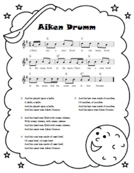 """""""Aiken Drumm"""" Printable Song Sheet"""