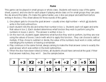 Aim For the End Math Activity