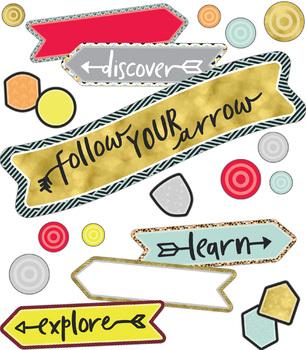 Aim High Follow Your Arrow Printable Mini Bulletin Board Set   9781483848570