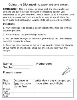 Aim High and Fly Far!- A paper airplane project.