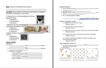 Aim: How many organisms can live in the same area? (Dispersal and sampling)