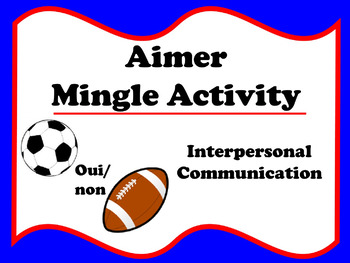 Aimer Mingle Activity (French ER verbs)