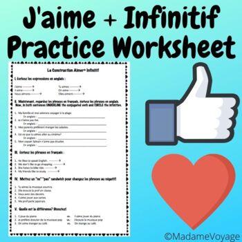 Aimer+ infinitif (J'aime+ verbes) Level 1 préférences practice