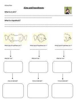 Aims and Hypothesis Easy Worksheet