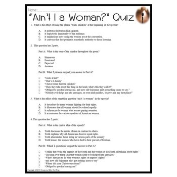Ain't I a Woman by Sojourner Truth Common Core Reading Test Prep Quiz