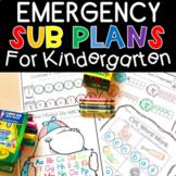 Emergency Sub Plans Print and Go Worksheets for Kindergarten