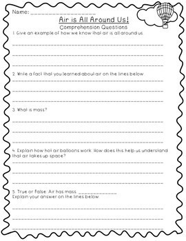 Air- 5E Lesson Plan, Differentiated Text, Comprehension Questions