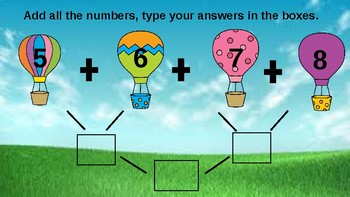 Air Balloon Interactive Adding Multiple Numbers Activity