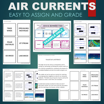 Air Currents (Trade Winds, Easterlies, Westerlies) Sort & Match Activity