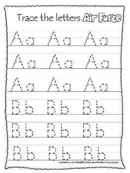 Air Force themed A-Z Tracing Worksheets.Printable Preschool Handwriting
