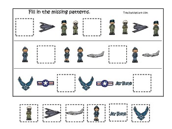 Air Force themed Fill In the Missing Pattern Game. Printable Preschool