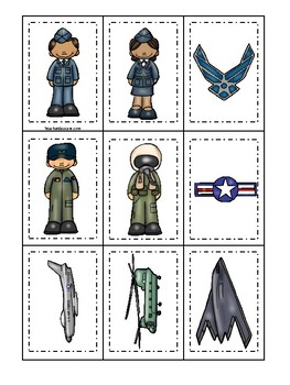 Air Force themed Memory Match Game. Printable Preschool Game