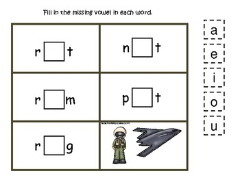 Air Force themed Pilot and Stealth CVC Game.  Printable Preschool Game