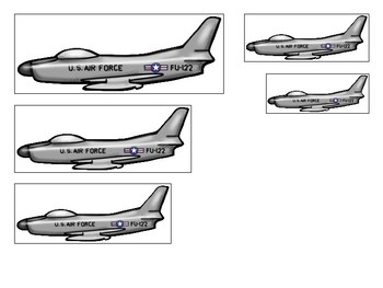 Air Force themed Size Sequence. Printable Preschool Game