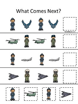 Air Force themed What Comes Next. Printable Preschool Game
