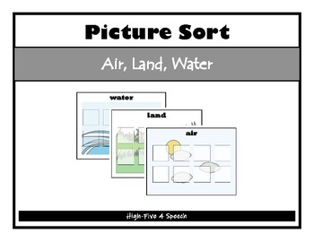 Air, Land, Water SORTING activity, SPEECH THERAPY, Autism,