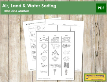 Air, Land and Water Sorting - Blackline Masters