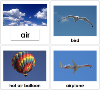 Air, Land and Water Sorting Cards - Toddler