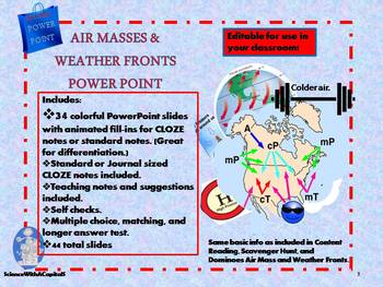 Air Mass and Weather Front Power Point with CLOZE - Editable