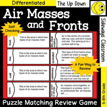 (Free) Air Masses and Fronts Puzzle Matching Review Game