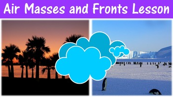 Air Masses and Fronts Lesson with Power Point, Worksheet, and Review Page