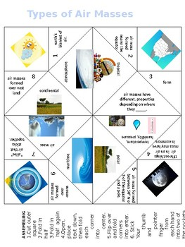 Air Masses and Weather Fronts Cootie Catchers