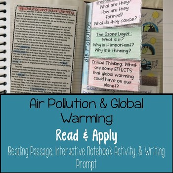 Air Pollution Global Warming Reading Comprehension Interactive Notebook