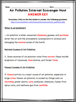 Air Pollution Internet Scavenger Hunt WebQuest Activity