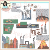 Air Pollution Sources Clip Art, Emissions, Volcanoes, Wild Fires etc.