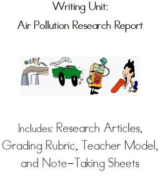 Non-Fiction Writing Unit: Research Report on Air Pollution! (3rd-5th Grade)