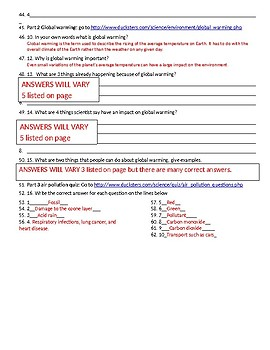 Air Pollution and Conservation webquest.  With answer key.